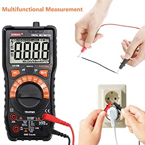 Digital Multimeter, UYIGAO 6000 Counts Auto-Ranging Electronic Measuring Instrument AC Voltage Detector Handheld Amp/Ohm / Volt Test Meter NCV Multi Tester Diode and Continuity Test with LCD Display (Color: Black, Tamaño: UA-19B)