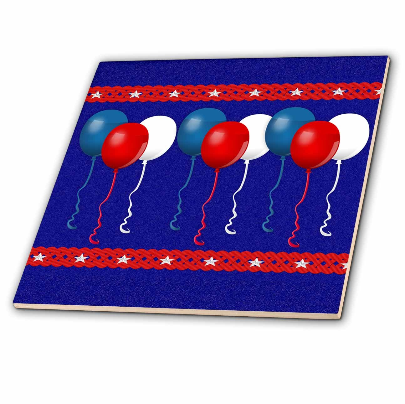 Fourth of july ceramic and glass tiles fourth of july wikii beverly turner patriotic design patriotic balloons in red white and blue red trim with stars 6 inch ceramic tile beverly turner patriotic design dailygadgetfo Images