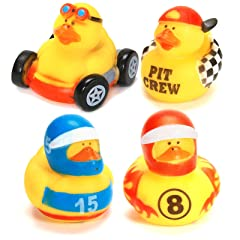 One Dozen (12) Rubber Ducky Duck Duckie Race Car Birthday Party Favors Toy