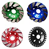 MagiDeal 4 Pieces Diamond Grinding Wheel Concrete Cup Disc Concrete Stone Tool 100mm (Color: Multicolored)