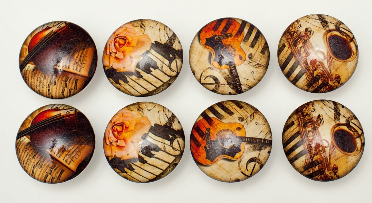 Set of 8 Vintage Music Dresser Drawer Cabinet Knobs 0