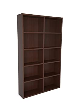 Boraam 90101 Techny Collection Whistler Hollow Core Bookcase, Walnut