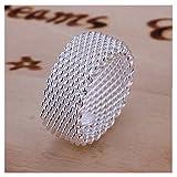 NYKKOLA Fashion Beautiful Jewelry New 925 Sterling Silver Mesh Fine Ring Band(Q)