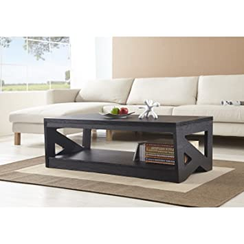 Metro Shop Furniture of America Hotchner Contemporary Black Open Storage Coffee Table