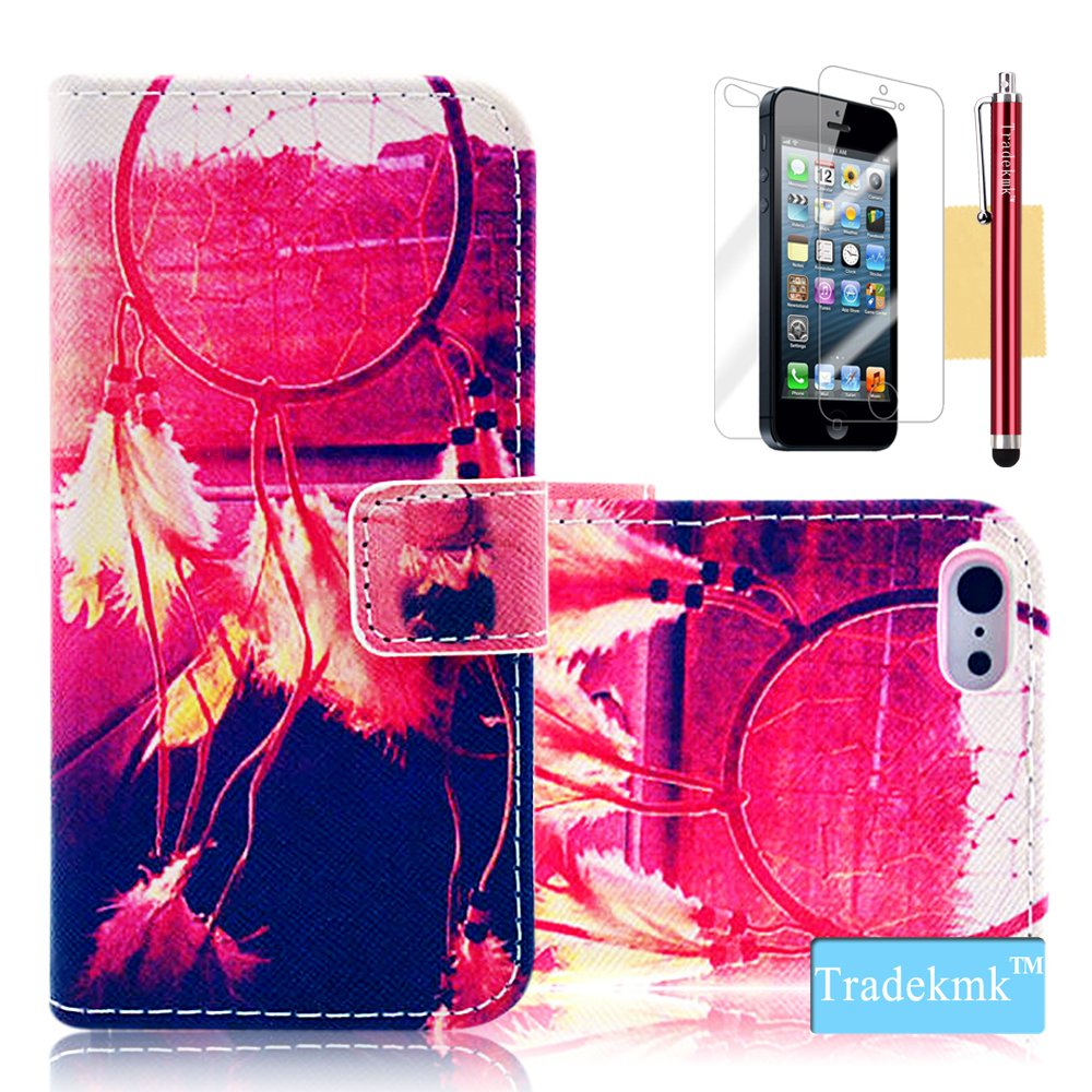 iPhone 5S Case, iPhone 5 Case, Tradekmk(TM) Brand New Luxury Fashion Premium PU Leather Slim Fit [Beautiful Dreamcatcher] Folio Magnet Wallet Stand Case Cover with Card Holders Compatible with Apple iPhone 5/5S/5G-[+Stylus+Screen Protector+Cleaning Cloth]