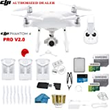 DJI Phantom 4 PRO V2.0 Quadcopter Drone with 1-inch 20MP 4K Camera KIT + 3 Total DJI Batteries + 2 64GB Micro SDXC Cards + Reader + Snap on Prop Guards + Range Extender + Charging Hub + Remote Harness (Color: 3 BATTERY BUNDLE, Tamaño: PHANTOM 4 PRO)