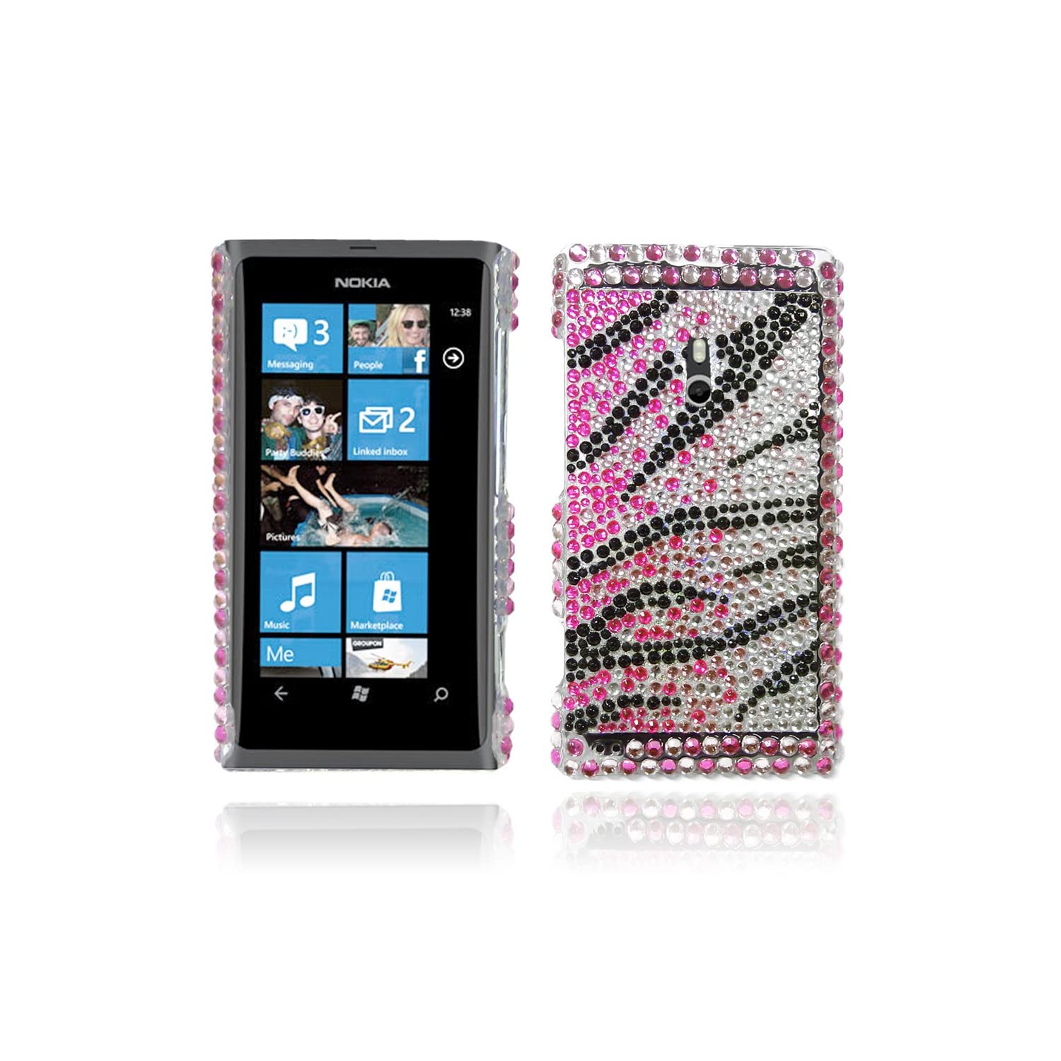 LOVE MY CASE / Nokia Lumia 800 Pink, Clear & Black Diamond Phone case / NEW