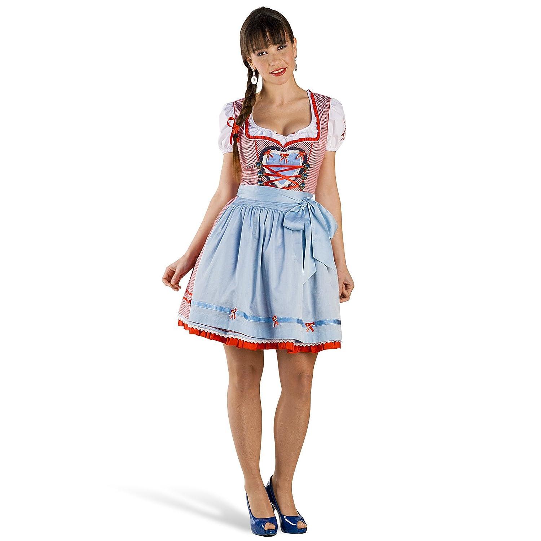 Mini Dirndl Annemarie Deluxe Trachten Kleid Damen mit Schürze rot weiß zum Oktoberfest jetzt kaufen