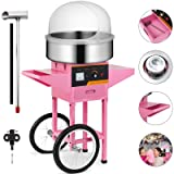 VEVOR Electric Candy Floss Maker 20.5 Inch Cotton Candy Machine 1030W for Various Parties (Cotton Candy Machine with Cart & Cover) (Color: Cotton Candy Machine with Cart & Cover)