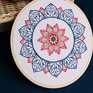 Blue Mandala Full Range of Embroidery Starter Kit with Pattern Bamboo Embroidery Hoop Kissbuty Cross Stitch Kit Including Embroidery Cloth with Floral Pattern Color Threads and Tools Kit