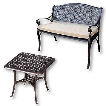 Lazy Susan - JULY Gartenbank und SANDRA Quadratischer Kaffeetisch - Gartenmöbel Set aus Metall, Antik Bronze (Beiges Kissen)