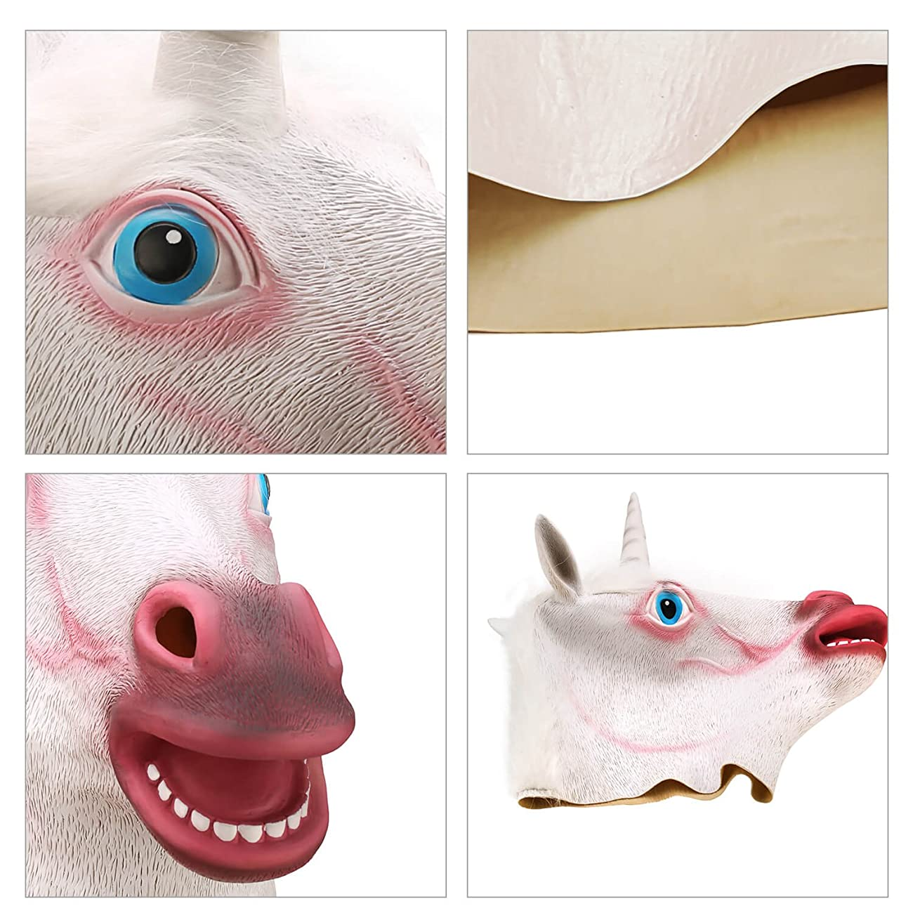 Ylovetoys Unicorn Head Mask Halloween Costume Party Novelty Latex Animal Mask 5