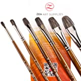 Professional Oil Paint Brushes (6-pcs Set) Filbert Brushes - Long-Lasting Natural Badger & Synthetic Blend - Acrylic Paint Brushes with Lacquered Birchwood Long Handles. Artist's Choice Collection