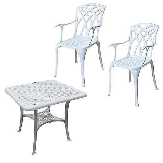 Lazy Susan - Tavolino basso quadrato da giardino SANDRA e 2 sedie APRIL - Mobili in alluminio pressofuso, colore Bianco