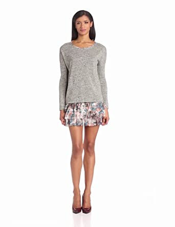 BCBGeneration Women's Long Sleeve Knit Top with Ruffled Slip Dress, Heather Grey, X-Small