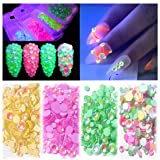 BornBeauty 4 Colors Fluorescent Nail Art Rhinestones Luminous Halloween AB Crystal Irridescent Round Beads Glow in Dark