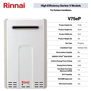 Rinnai V Series HE Tankless Hot Water Heater: Outdoor Installation (Color: V75eP - Propane/7.5 GPM, Tamaño: Large)