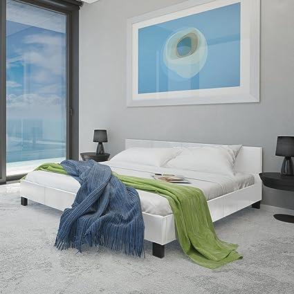 Letto ecopelle bianco 140 x 200 cm con materasso