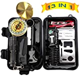 Anyprize Emergency Survival Kit 13 in 1, Outdoor Survival Gear Tool with Survival Bracelet, Folding Knife, Compass, Emergency Blanket, Fire Starter, Flashlight, Tactical Pen for Camping, Hiking (Color: black)