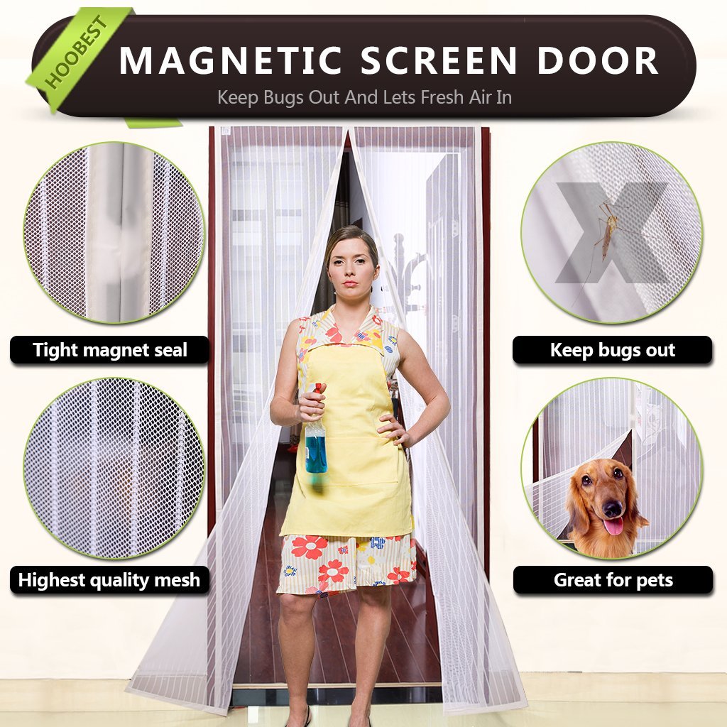 "Hoobest Magnetic Screen Door-Heavy Duty Mesh Screen & Full Frame Velcro-Keep Bugs out,Let Fresh Air In.Screen Door Mesh is Bulit Tough,Close Automaticlly.Fits Door Openings Up to 34""x82"" Max. (White)"