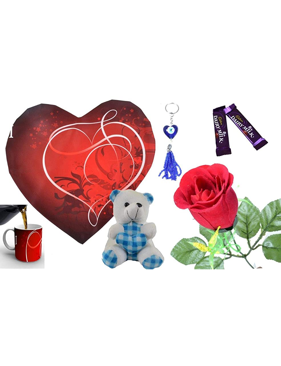 meSleep Digitally Printed Valentine 7 Piece Gift Set – Red (5-mug-Vcombo) @Rs.489