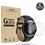 (4-Pack) Gear S2 Tempered Glass Screen Protector, Akwox [0.3mm 2.5D High Definition 9H] Premium Clear Screen Protective Film for Samsung Gear S2 Frontier / Classic / Gear Sport Smart Watch 1.2 Inch