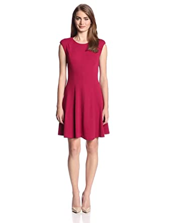: Rebecca Taylor Women's Textured Ponte Fit-and-Flare Dress: Clothing