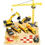 iPlay, iLearn Construction Site Vehicles Toy Set, Engineering Playset, Tractor, Digger, Crane, Dump Trucks, Excavator, Cement, Steamroller for 3, 4, 5 Year Old Toddlers, Boys, Girls, Kids & Children (Color: Yellow)