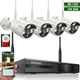 ?2018 update?OOSSXX 8CH 1080P HD Wireless Security Camera System,4 pcs 720P 1.0 Megapixel Wireless Weatherproof Bullet IP Cameras,Plug and Play,70FT Night Vision,P2P,App, HDMI Cord&1TB HDD Pre-install