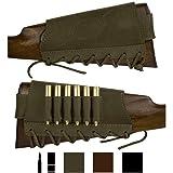 BronzeDog Adjustable Leather Buttstock Cartridge Ammo Holder for Rifles 12 16 Gauge or .30-30 .308 Caliber Hunting Ammo Pouch Bag Stock Right Handed Shotgun Shell Holder (Khaki, 12/16 Gauge) (Color: Khaki, Tamaño: 12/16 gauge)