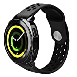 Samsung Gear Sport Band/S2 Classic Band (NOT for GEAR S2) - VIGOSS 20mm Soft Silicone Watch Band Breathable Replacement Strap Fitness Wristband for Samsung Gear Sport Smartwatch (Dark Gray/Black) (Color: Dark Gray/Black)