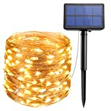 AMIR Solar Powered String Lights, 33ft Copper Wire Lights,100 LED Starry Lights, Indoor Outdoor Waterproof Solar Decoration Lights for Gardens, Home,