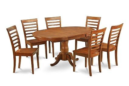 East West Furniture POML5-SBR-C 5-Piece Dining Table Set