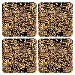 Posterboy Alien Ponchishey Boishakh MDF Coaster Set, Set of 4, 101mm, Multicolor