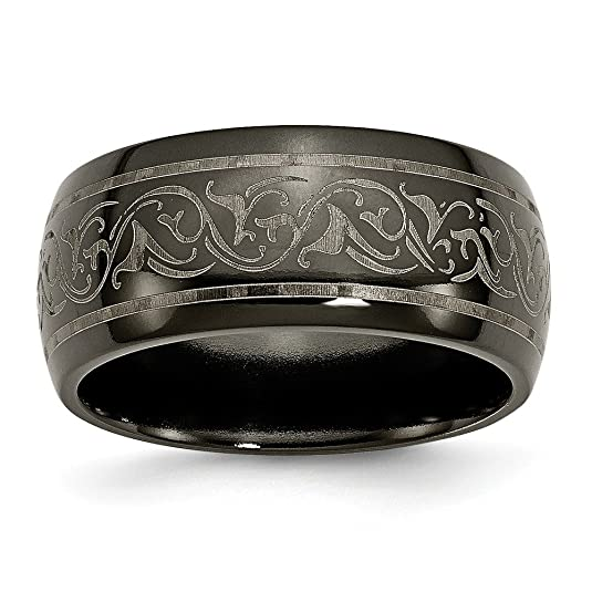 Men's Titanium Black Ti Domed Lasered Pattern Wedding Band Ring