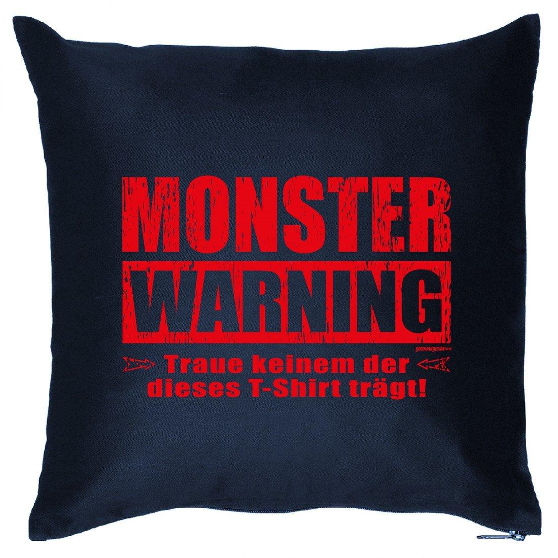 Kissen Sofakissen mit Aufdruck – Monster Warning – Horror Geister Hexe Grusel Monster Halloween Geschenk – Wendekissen günstig kaufen