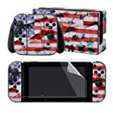 eXtremeRate Full Set Faceplate Skin Decals Stickers and 2 Pcs Screen Protector for Nintendo Switch/NS Console & Joy-con Controller & Dock Protection Kit - Soul of Flag (Color: Soul of Flag)