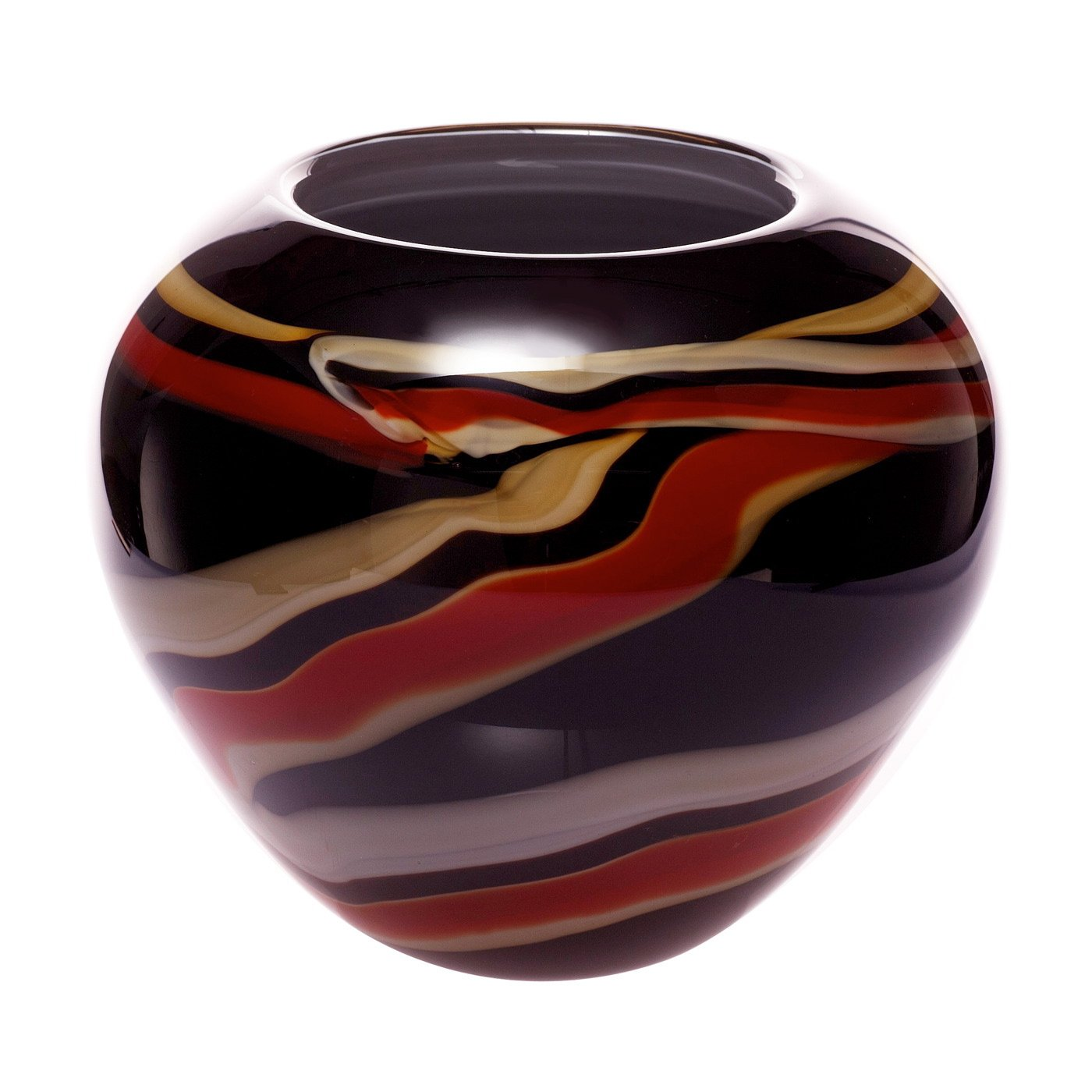 Gold & Red Stripe Abstract Art Glass Vase  image