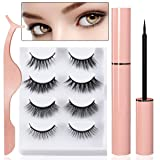 ELURH Magnetic Eyelashes and Eyeliner Kit, 3D Waterproof Natural Look Reusable False Lashes with Tweezer (4 Pairs) (Tamaño: regular)
