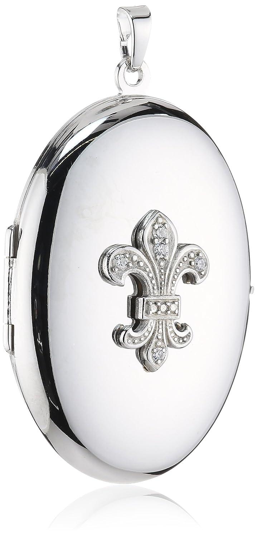 Xaana Damen-Anhänger 925 Sterling Silber aufklappbar Medaillon oval mit Lilie rhodiniert 36 mm AMZ0169