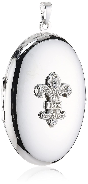 Xaana Damen-Anhänger 925 Sterling Silber aufklappbar Medaillon oval mit Lilie rhodiniert 36 mm AMZ0169 günstig
