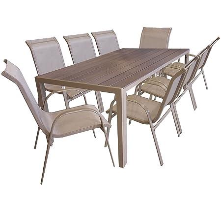 9 Pièces salon de jardin table de jardin en Polywood et Aluminium 205x90cm + 8x chaises empilables en acier enduit et textilène meubles de jardin mobilier de jardin et terrasse
