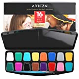 ARTEZA 16 Colors Body and Face Paint Set and Palette Kit - Non-Toxic Water-Based Colors with 2 Brushes, 24 Stencils, and 14 Tattoos for Costumes, Parties, Theater, Special Effects, and Festivals (Color: Body Paint)
