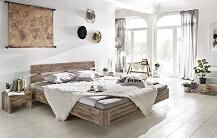 Woodkings® Bett 180x200 Hampden Doppelbett Akazie rustic Schlafzimmer Massivholz Design Doppelbett Schwebebett massive Naturmöbel Echtholzmöbel gunstig