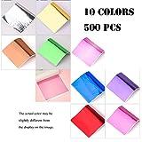 Tamicy 500 Sheets 10 Colors Metallic Gold Foil Leaf Paper - Foil Paper Slime Decorating Gilding Furniture, DIY Nails, Arts, Crafts, Paintings