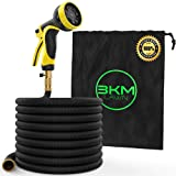 3KM Garden Hose - 100 FT Heavy Duty Expandable - Premium Flexible & Expanding - 9-Pattern High-Pressure Water Spray Nozzle & Bag - No Kink Tangle-Free Lawn & Plant Watering - Triple Layer (Color: Black, Tamaño: 100 FT)