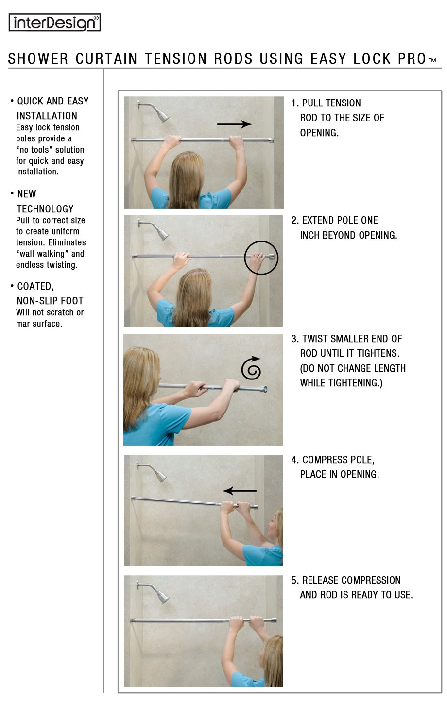 Shower Curtain Tension Rods . . . Reliable At Every Length