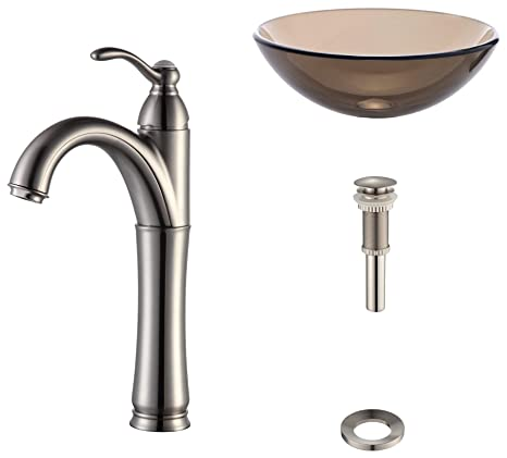 Kraus C-GV-103-12mm-1005SN Clear Brown Glass Vessel Sink and Riviera Faucet Satin Nickel