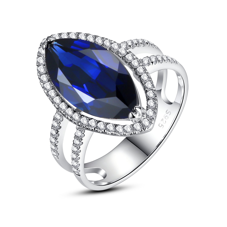 Sterling Silber Damen Ring, 7 Karat Marquise Erstellt Saphir, Cocktail-Ring online bestellen