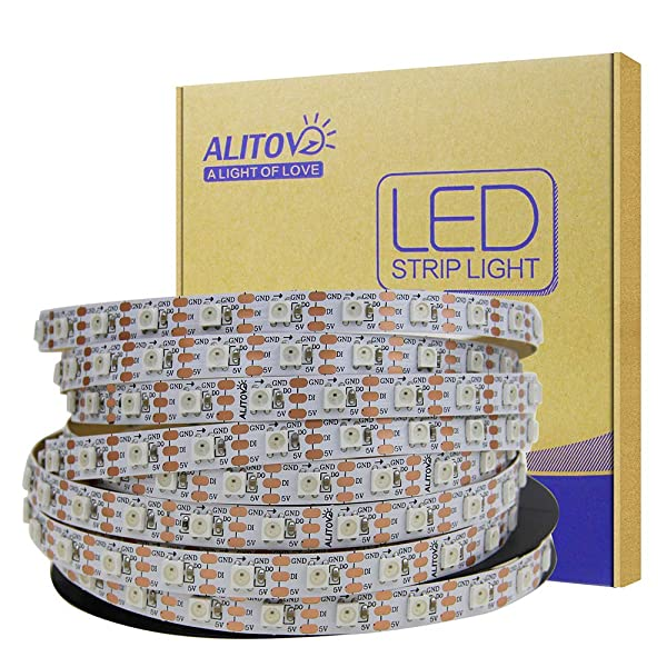ALITOVE 5m WS2812B Individually Addressable LED Strip Light